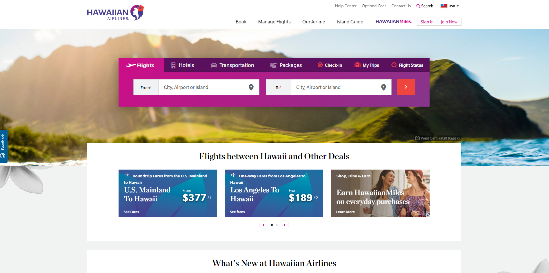 HawaiianAirlines夏威夷航空公司截图